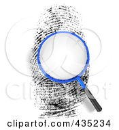 Royalty Free RF Clipart Illustration Of A 3d Magnifying Glass Over Blank Space On A Finger Print by Tonis Pan