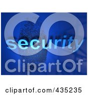 Royalty Free RF Clipart Illustration Of The 3d Word Security Over A Fingerprint On Blue by Tonis Pan