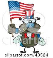 Clipart Illustration Of A Patriotic Uncle Sam Fly Waving An American Flag On Independence Day