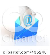 Royalty Free RF Clipart Illustration Of A 3d Blue Open Envelop Revealing An Arobase On Paper by Tonis Pan