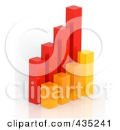 3d Red Orange And Yellow Bar Graph Diagram 3