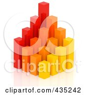 3d Red Orange And Yellow Bar Graph Diagram - 2