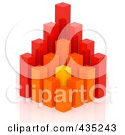 3d Red Orange And Yellow Bar Graph Diagram 1