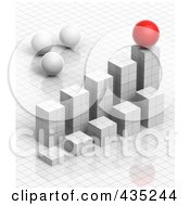 Royalty Free RF Clipart Illustration Of A 3d White Grid Graph Diagram With White And Red Spheres