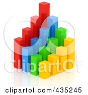 Royalty Free RF Clipart Illustration Of A 3d Colorful Bar Graph Diagram 1