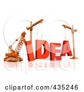 Royalty Free RF Clipart Illustration Of A 3d Construction Cranes And Lifting Machines Assembling The Word IDEA