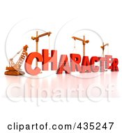 Royalty Free RF Clipart Illustration Of A 3d Construction Cranes And Lifting Machines Assembling The Word CHARACTER