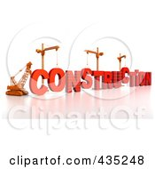 Royalty Free RF Clipart Illustration Of A 3d Construction Cranes And Lifting Machines Assembling The Word CONSTRUCTION