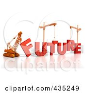 Royalty Free RF Clipart Illustration Of A 3d Construction Cranes And Lifting Machines Assembling The Word FUTURE