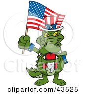 Clipart Illustration Of A Patriotic Uncle Sam Alligator Waving An American Flag On Independence Day by Dennis Holmes Designs #COLLC43525-0087