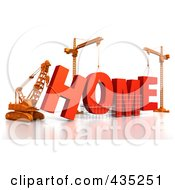 Royalty Free RF Clipart Illustration Of A 3d Construction Cranes And Lifting Machines Assembling The Word HOME by Tonis Pan