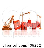 Royalty Free RF Clipart Illustration Of A 3d Construction Cranes And Lifting Machines Assembling The Word BRAND by Tonis Pan