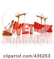 Royalty Free RF Clipart Illustration Of A 3d Construction Cranes And Lifting Machines Assembling The Word NETWORK by Tonis Pan