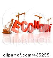 3d Construction Cranes And Lifting Machines Assembling The Word Economy