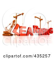 Royalty Free RF Clipart Illustration Of A 3d Construction Cranes And Lifting Machines Assembling The Word LEARNING by Tonis Pan