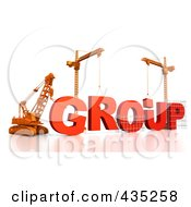 Royalty Free RF Clipart Illustration Of A 3d Construction Cranes And Lifting Machines Assembling The Word GROUP by Tonis Pan