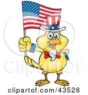 Clipart Illustration Of A Patriotic Uncle Sam Canary Waving An American Flag On Independence Day by Dennis Holmes Designs