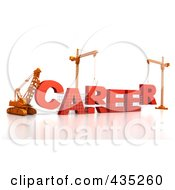 Royalty Free RF Clipart Illustration Of A 3d Construction Cranes And Lifting Machines Assembling The Word CAREER by Tonis Pan