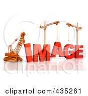 Royalty Free RF Clipart Illustration Of A 3d Construction Cranes And Lifting Machines Assembling The Word IMAGE