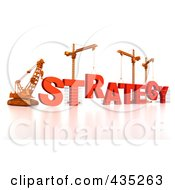 Royalty Free RF Clipart Illustration Of A 3d Construction Cranes And Lifting Machines Assembling The Word STRATEGY by Tonis Pan