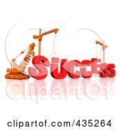 Royalty Free RF Clipart Illustration Of A 3d Construction Cranes And Lifting Machines Assembling The Word SUCCESS
