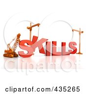 Royalty Free RF Clipart Illustration Of A 3d Construction Cranes And Lifting Machines Assembling The Word SKILLS