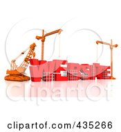 Royalty Free RF Clipart Illustration Of A 3d Construction Cranes And Lifting Machines Assembling The Word WEBSITE by Tonis Pan