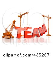 3d Construction Cranes And Lifting Machines Assembling The Word Team