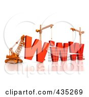 Royalty Free RF Clipart Illustration Of A 3d Construction Cranes And Lifting Machines Assembling The Word WWW