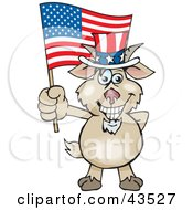 Clipart Illustration Of A Patriotic Uncle Sam Goat Waving An American Flag On Independence Day