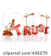 3d Construction Cranes And Lifting Machines Assembling The Word Trust