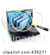 Royalty Free RF Clipart Illustration Of A 3d Magnifying Glass Zooming In On Folders On A Laptop Screen by Tonis Pan