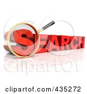 Royalty Free RF Clipart Illustration Of A 3d Magnifying Glass Over The Red Word SEARCH by Tonis Pan