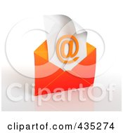 Royalty Free RF Clipart Illustration Of A 3d Orange Open Envelop Revealing An Arobase On Paper by Tonis Pan