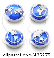 Royalty Free RF Clipart Illustration Of A Digital Collage Of 3d Blue Continent Buttons