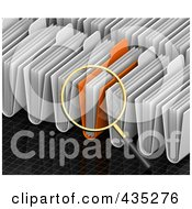 Royalty Free RF Clipart Illustration Of A 3d Magnifying Glass Searching Through Folders On A Black Grid by Tonis Pan