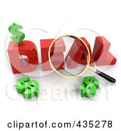 Royalty Free RF Clipart Illustration Of A 3d Magnifying Glass Over The Red Word DEAL by Tonis Pan