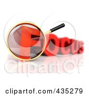 Royalty Free RF Clipart Illustration Of A 3d Magnifying Glass Over The Red Word FOCUS by Tonis Pan