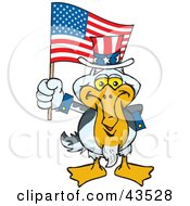 Patriotic Uncle Sam Pelican Waving An American Flag On Independence Day