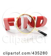 Royalty Free RF Clipart Illustration Of A 3d Magnifying Glass Over The Red Word FIND by Tonis Pan