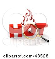 Royalty Free RF Clipart Illustration Of A 3d Magnifying Glass Over The Red Word HOT by Tonis Pan