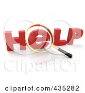 Royalty Free RF Clipart Illustration Of A 3d Magnifying Glass Over The Red Word HELP