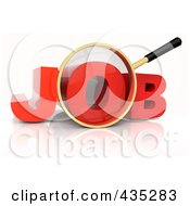 Royalty Free RF Clipart Illustration Of A 3d Magnifying Glass Over The Red Word JOB by Tonis Pan