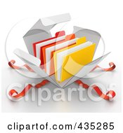 Royalty Free RF Clipart Illustration Of 3d File Folders Bursting Out Through A White Box With Red Ribbons by Tonis Pan