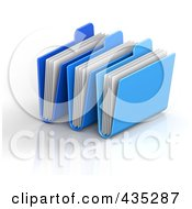 Royalty Free RF Clipart Illustration Of 3d Blue Archive Folders With Documents by Tonis Pan
