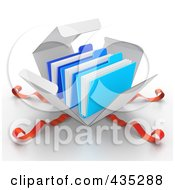 Royalty Free RF Clipart Illustration Of 3d Blue Files Bursting Out Through A White Box With Red Ribbons by Tonis Pan