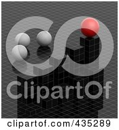 Royalty Free RF Clipart Illustration Of A 3d Grid Graph Diagram With White And Red Spheres