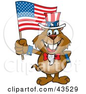Clipart Illustration Of A Patriotic Uncle Sam Gopher Waving An American Flag On Independence Day