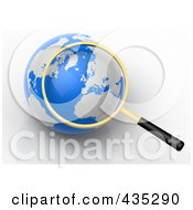 Royalty Free RF Clipart Illustration Of A 3d Magnifying Glass Zooming In On Europe On A Globe