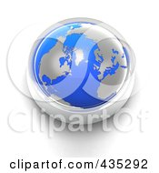 Royalty Free RF Clipart Illustration Of A 3d Blue Globe Button by Tonis Pan